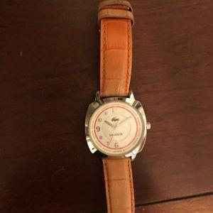 Orange leather Lacoste watch